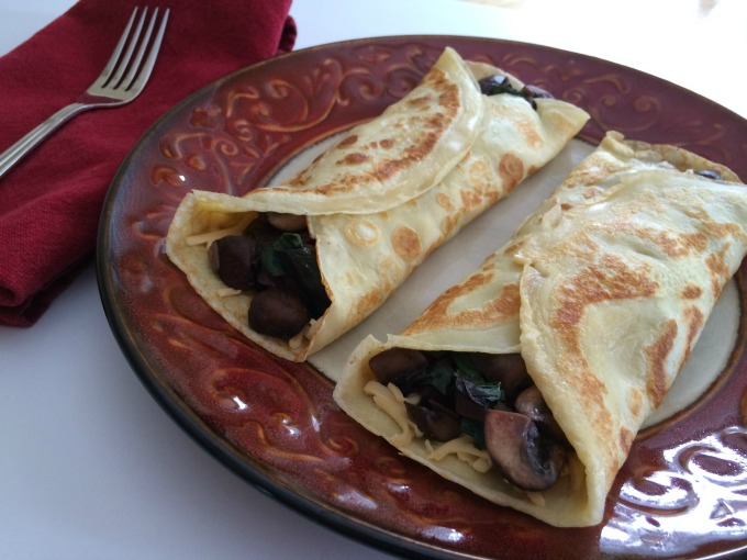Marsala Crepes with Beet Greens