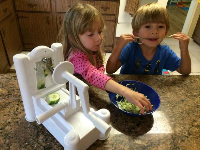 Spiralizing Cucumbers