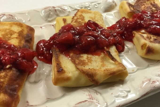 Cheese Blintzes with Strawberry Sauce