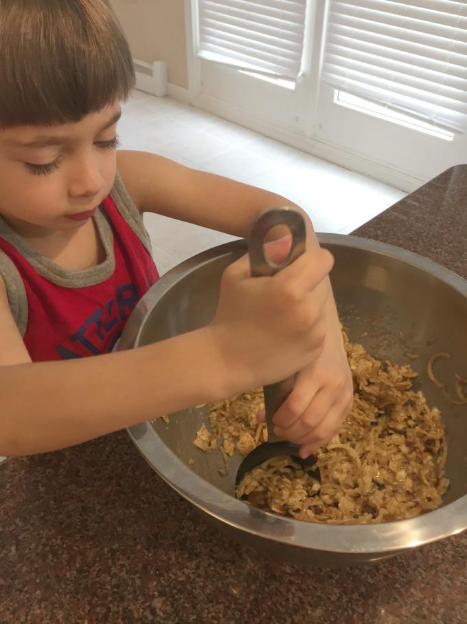 Mixing Kugel Ingredients