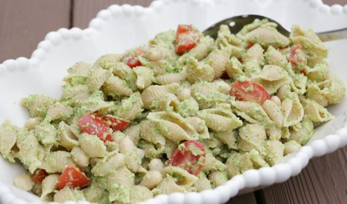 Broccoli Pesto Noodles with White Beans and Tomatoes